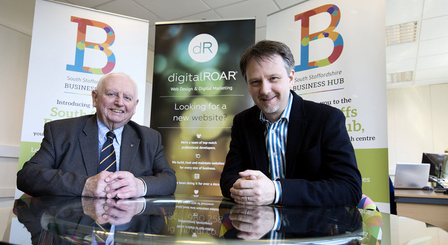 Councillor Brian Edwards (Business Hub) & Jed Wylie (digitalROAR)