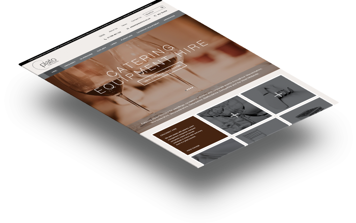 Plato Catering Hire Home Page, Web Design Portfolio