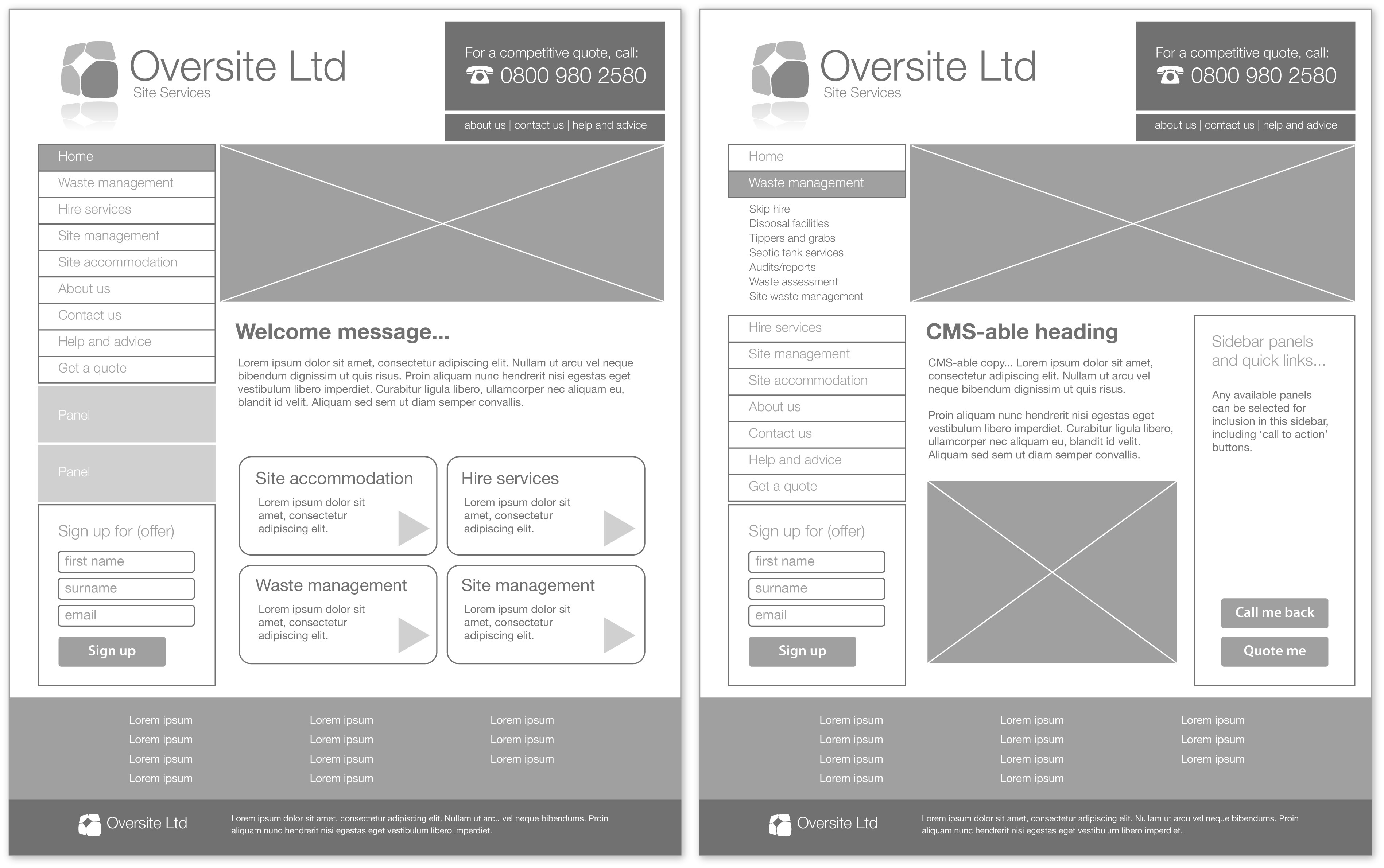 Wireframe of Two Website Pages